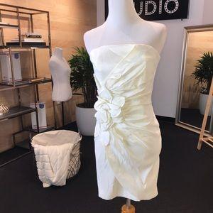 Cache White Ruched Strapless Mini Dress - 2